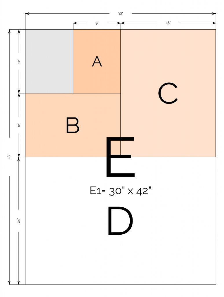 ARCH papir størrelser diagram
